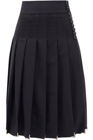 DUNCAN Felix High-rise Pleated Wool Midi Skirt - Womens - Navy