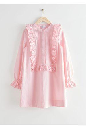 & OTHER STORIES Embroidered Ruffle Bib Mini Dress