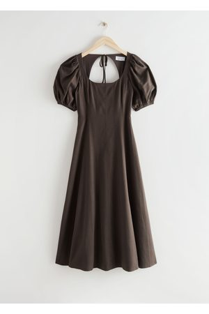 & OTHER STORIES Open Back Puff Sleeve Midi Dress