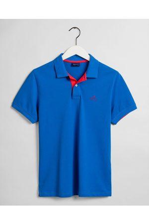 Gant Contrast Collar Pique Rugger SS Polo Shirt - Mens - Nautical
