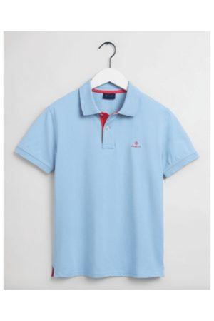 Gant Contrast Collar Pique Rugger SS Polo Shirt - Mens - Powder Blue