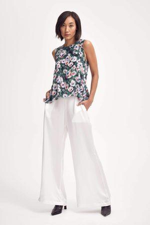 Lindsay Nicholas New York Silk Peplum Top in Pink & Green Peony