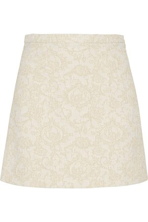 Amotea Women Mini Skirts - BABY MINI SKIRT IN IVORY BROCADE