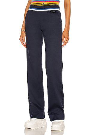 Miu Miu Lux Fleece Trouser in Navy