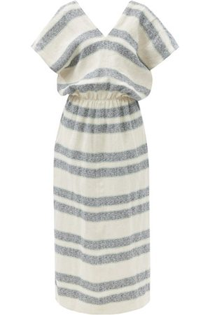 Raey Backless Linen Tunic Dress - Womens - Navy Multi