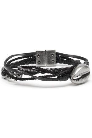Saint Laurent Ysl-charm Leather And Cord Bracelet - Mens