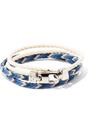 Dolce & Gabbana Braided Leather And Cotton Wrap Bracelet - Mens - Multi