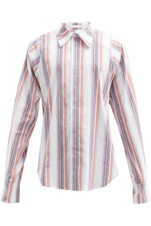 Bianca Saunders Jacquard-striped Cotton-blend Poplin Shirt - Mens - Multi