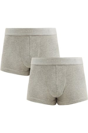 Sunspel Pack Of Two Cotton-blend Boxer Briefs - Mens - Grey