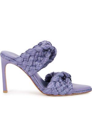 Bottega Veneta Women Mules - Curve 95 lilac raffia mules