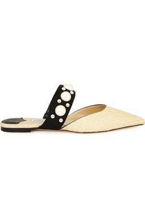 Jimmy Choo Women Flat Shoes - Basette embellished raffia flats