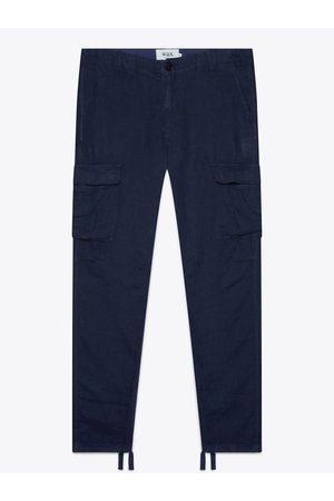 Wax London Men Jeans - Brick Navy Linen Trousers