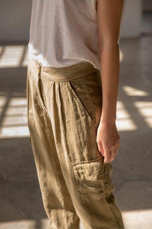 Sita Murt Linen Cargo Trousers in Kaki