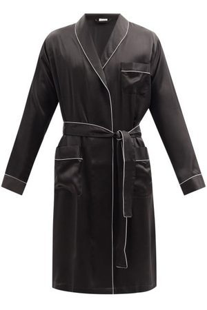 Zimmerli Men Bathrobes - Piped Silk-satin Bathrobe - Mens - Dark Grey