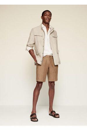 MANGO Men Jackets - 100% linen saharan jacket /pastel grey