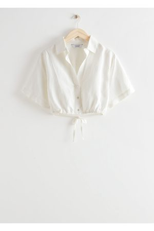& OTHER STORIES Women Crop Tops - Buttoned Tie Detail Crop Top