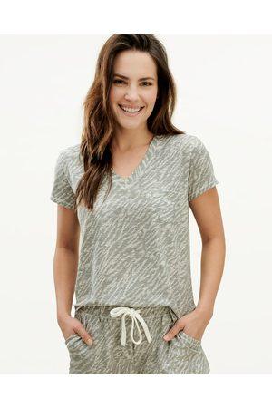 Splendid Women Sweats - Womens V-Neck & Shortsie Sleep Set Sandwash Animal Grey - Size L