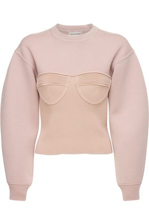 Alexander McQueen Stretch Wool Knit Bustier Sweater