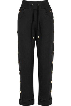 Balmain Button-embellished jersey sweatpants