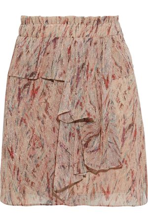 IRO Woman Joucas Ruffled Printed Lurex Mini Skirt Neutral Size 34