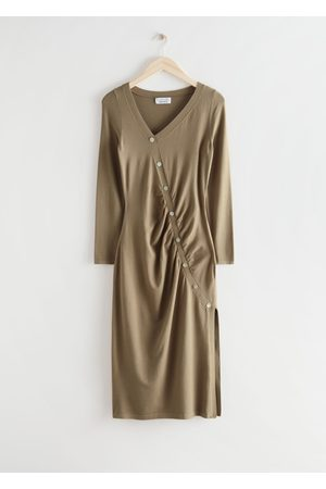 & OTHER STORIES Buttoned Asymmetric Midi Dress