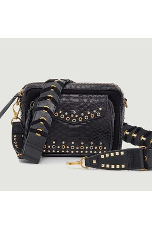 CLARIS VIROT Charly python leather bag with eyelets and studs Noir