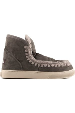 Mou WOMEN'S MUFW111000ACHA GREY LEATHER ANKLE BOOTS