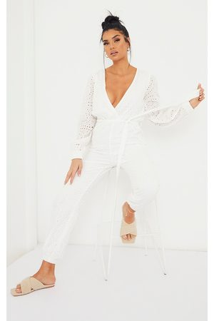 PRETTYLITTLETHING Women Jumpsuits - Broderie Anglaise Wrap Tie Waist Jumpsuit