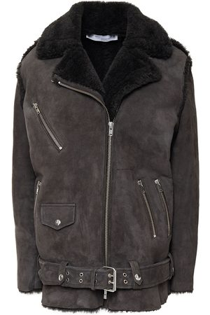 IRO Woman Comody Shearling Biker Jacket Dark Size 34
