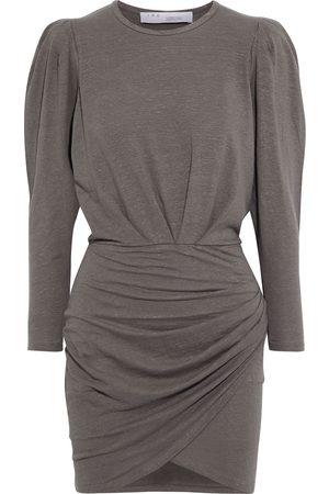 IRO Women Casual Dresses - Woman Garah Gathered Stretch-linen Jersey Mini Dress Mushroom Size L