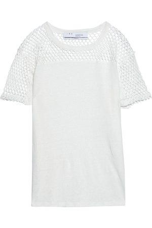 IRO Woman Masua Fishnet-paneled Slub Linen-jersey T-shirt Size L