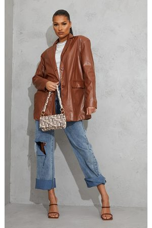 PRETTYLITTLETHING Toffee Faux Leather Oversized Dad Blazer