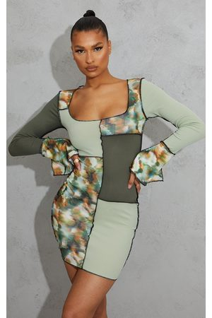 PRETTYLITTLETHING Tie Dye Patchwork Detail Overlock Stitch Long Sleeve Bodycon Dress