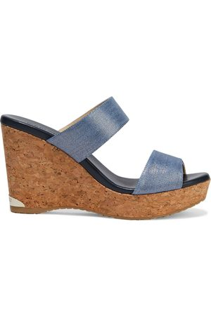 Jimmy Choo Woman Parker 100 Metallic Denim And Cork Wedge Mules Size 37.5