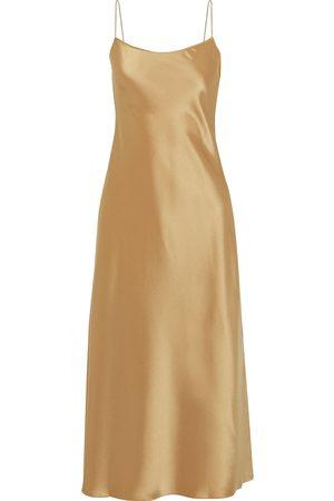 THEORY Women Casual Dresses - Woman Satin Midi Slip Dress Bronze Size 4