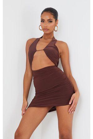 PRETTYLITTLETHING Women Bodycon Dresses - Chocolate Slinky Halterneck Bust Detail Bodycon Dress
