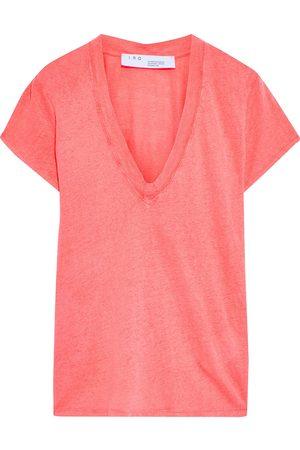 IRO Woman Rodeo Slub Linen-jersey T-shirt Bubblegum Size M