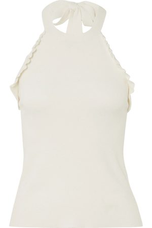 See by Chloé Women Halterneck Tops - See By Chloé Woman Ruffle-trimmed Knitted Halterneck Top Size L