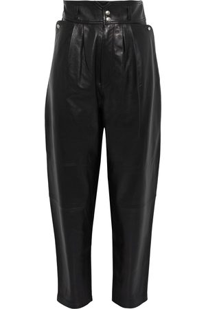 IRO Woman Lydhio Pleated Leather Tapered Pants Size 34