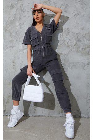 PRETTYLITTLETHING Women Cargo Pants - Grey Short Sleeved Cargo Pocket Cord Jumpsuit