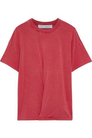 IRO Women Short Sleeve - Woman Colby Twist-front Slub Jersey T-shirt Crimson Size S
