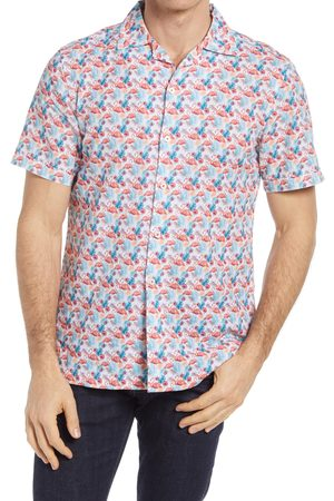 Bugatchi Men's Shaped Fit Print Short Sleeve Linen Button-Up Shirt