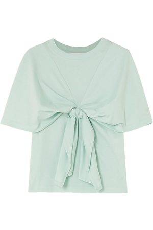 See by Chloé Women Short Sleeve - See By Chloé Woman Bow-detailed Cotton-jersey T-shirt Mint Size M