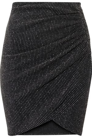 IRO Woman Tacite Wrap-effect Metallic Striped Stretch-mesh Mini Skirt Size 34