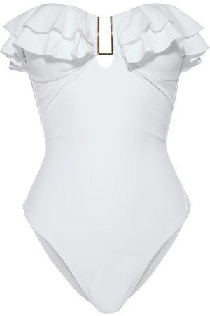 Melissa Odabash Women Swimsuits - Woman Corfu Ruffled Bandeau Swimsuit Size 40