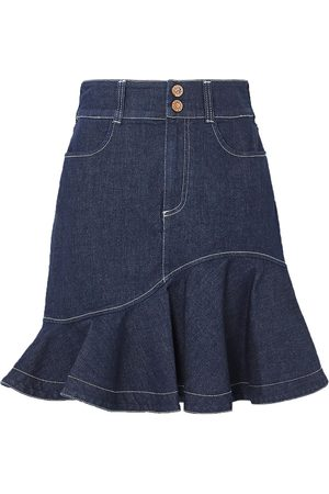 See by Chloé Women Mini Skirts - See By Chloé Woman Fluted Denim Mini Skirt Mid Denim Size 38