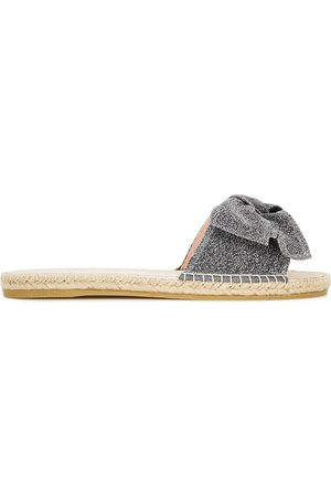 MANEBI Manebí Woman Hamptons Bow-embellished Lurex Espadrille Slides Gunmetal Size 35