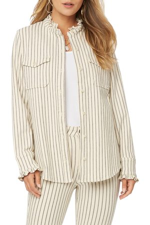NYDJ Women's Stripe Ruffle Detail Button-Up Shirt Jacket