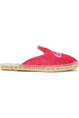 MANEBI Manebí Woman Hamptons Embroidered Suede Slippers Fuchsia Size 36