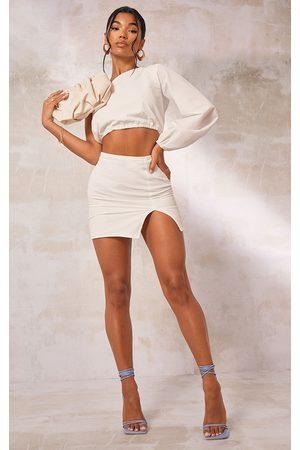 PRETTYLITTLETHING Women Party Dresses - Textured Woven Split Leg Mini Skirt